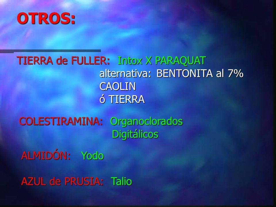 OTROS: TIERRA de FULLER: Intox X PARAQUAT alternativa: BENTONITA al 7%