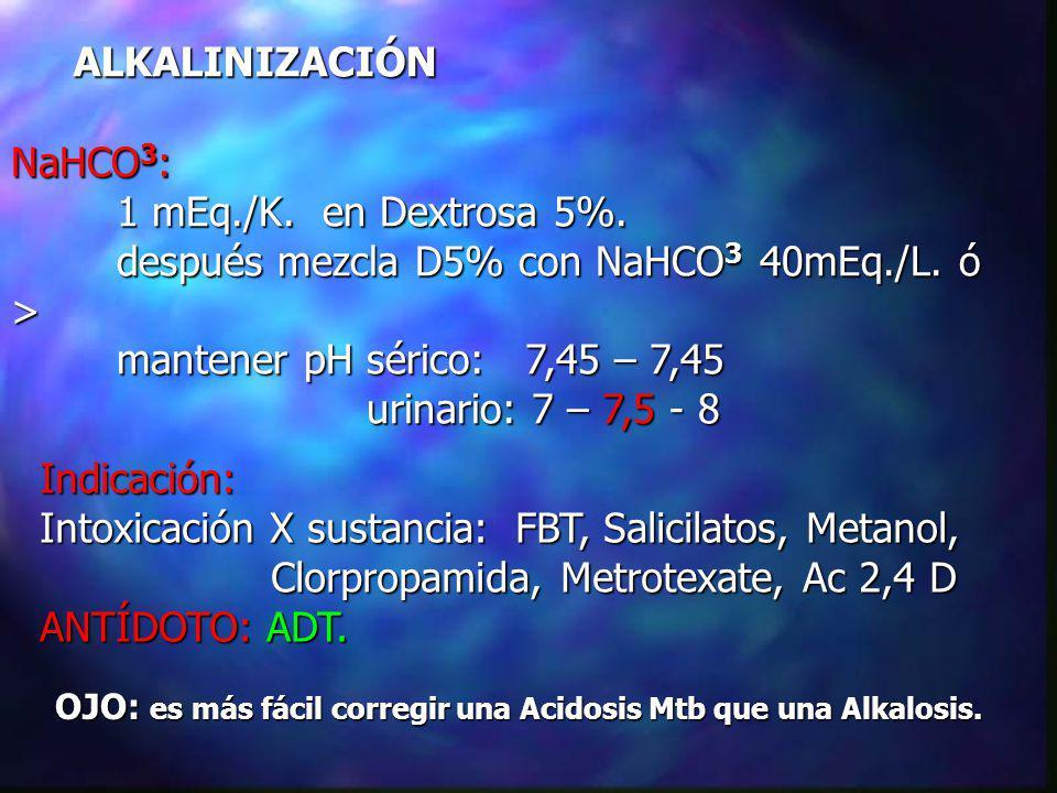 después mezcla D5% con NaHCO3 40mEq./L. ó >