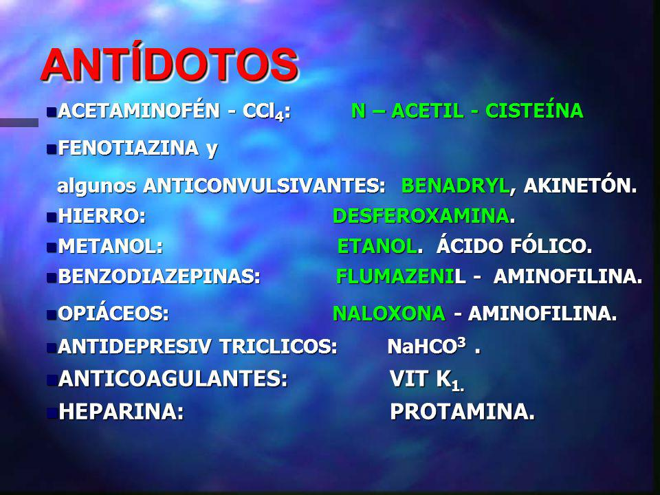 ANTÍDOTOS ANTICOAGULANTES: VIT K1. HEPARINA: PROTAMINA.