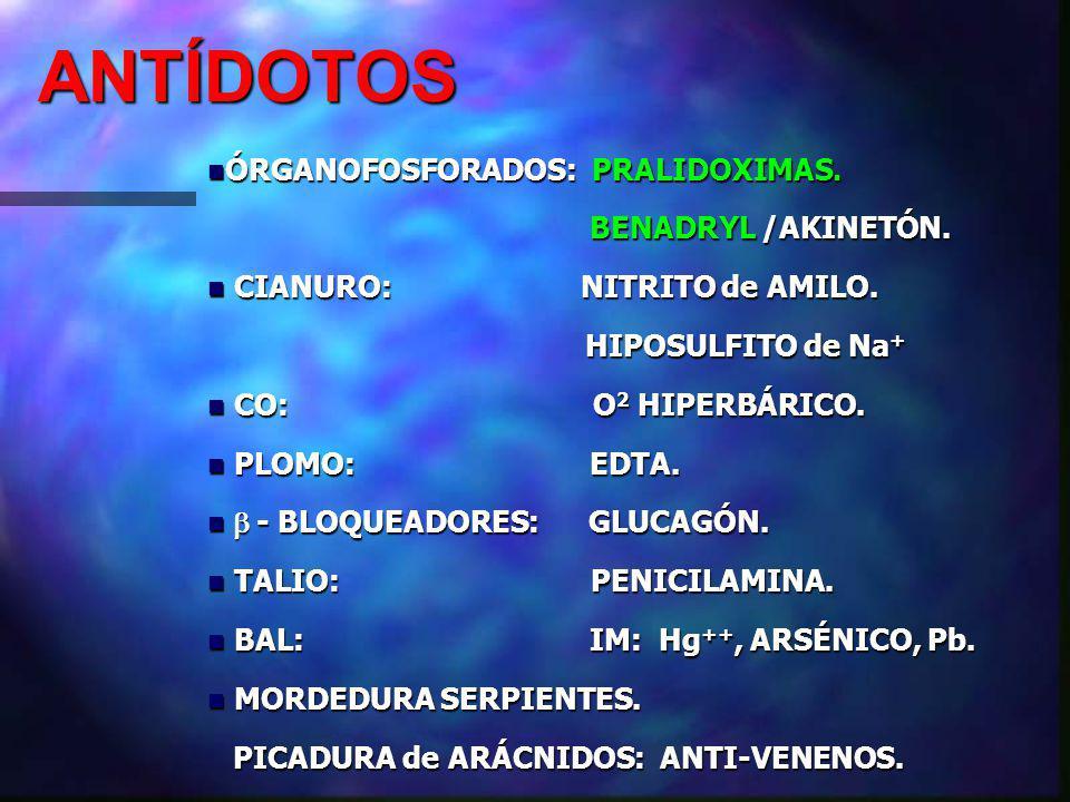 ANTÍDOTOS ÓRGANOFOSFORADOS: PRALIDOXIMAS. BENADRYL /AKINETÓN.