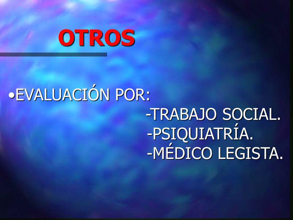 OTROS EVALUACIÓN POR: -TRABAJO SOCIAL. -PSIQUIATRÍA. -MÉDICO LEGISTA.