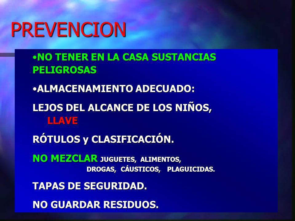 PREVENCION NO TENER EN LA CASA SUSTANCIAS PELIGROSAS