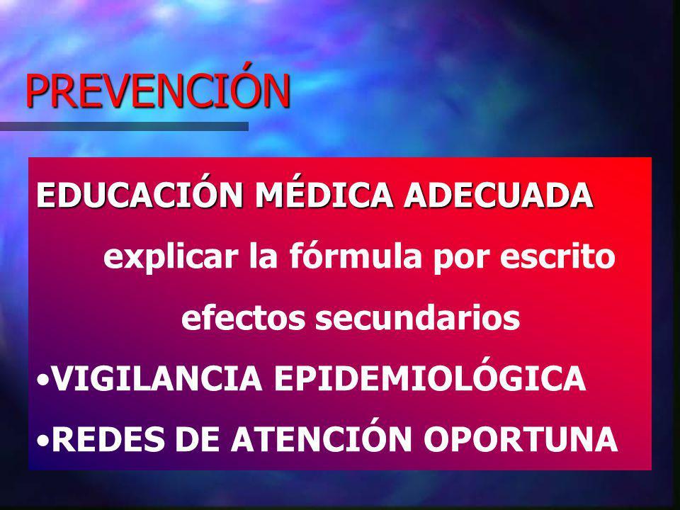 PREVENCIÓN EDUCACIÓN MÉDICA ADECUADA explicar la fórmula por escrito