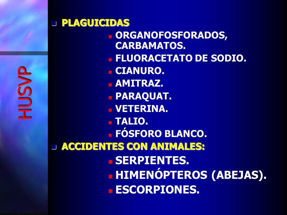 HUSVP SERPIENTES. HIMENÓPTEROS (ABEJAS). ESCORPIONES. PLAGUICIDAS