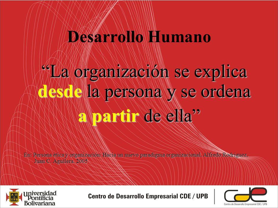 La organización se explica desde la persona y se ordena