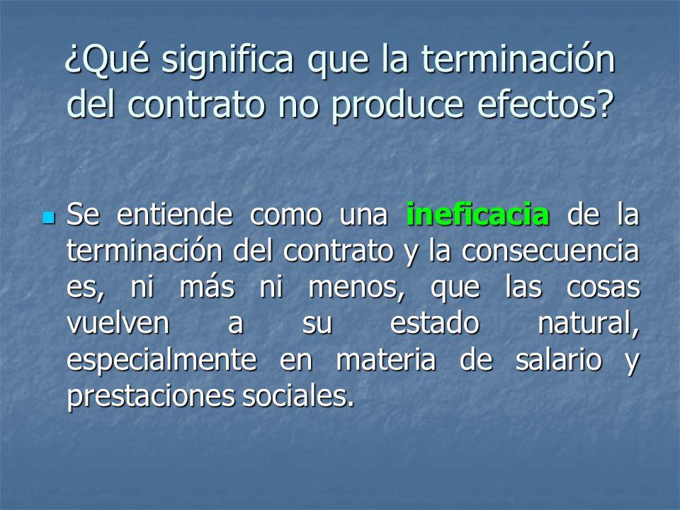 ¿Qué significa que la terminación del contrato no produce efectos