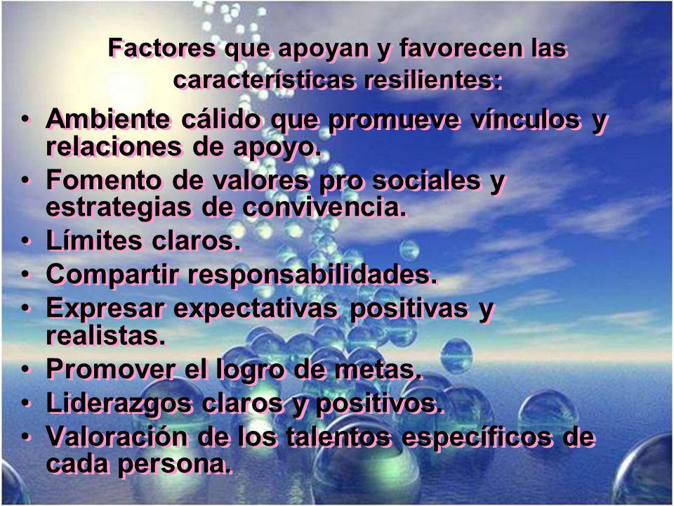 Factores que apoyan y favorecen las características resilientes: