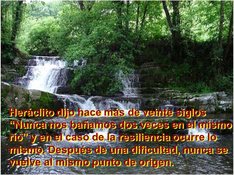 Heráclito dijo hace más de veinte siglos Nunca nos bañamos dos veces en el mismo río y en el caso de la resiliencia ocurre lo mismo.
