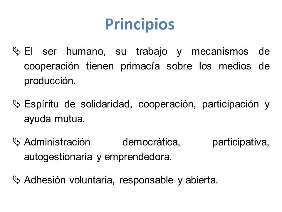 Principios El ser humano, su trabajo y mecanismos de cooperación tienen primacía sobre los medios de producción.