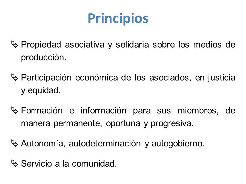 Principios Propiedad asociativa y solidaria sobre los medios de producción. Participación económica de los asociados, en justicia y equidad.