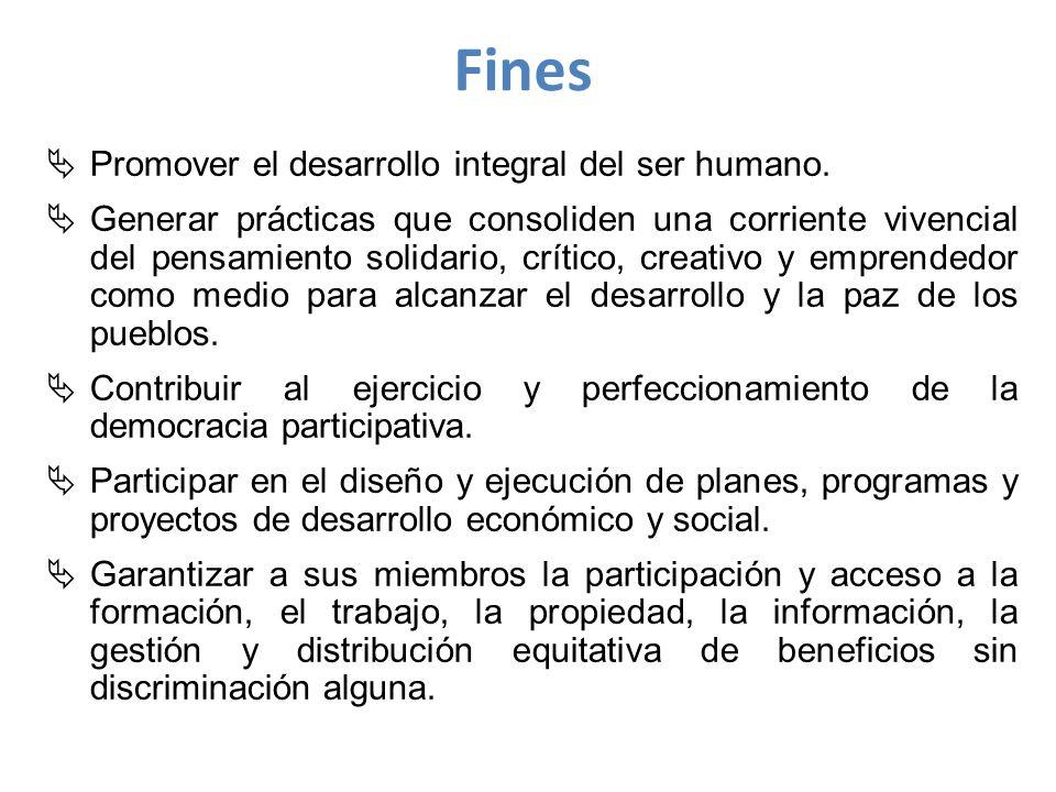 Fines Promover el desarrollo integral del ser humano.