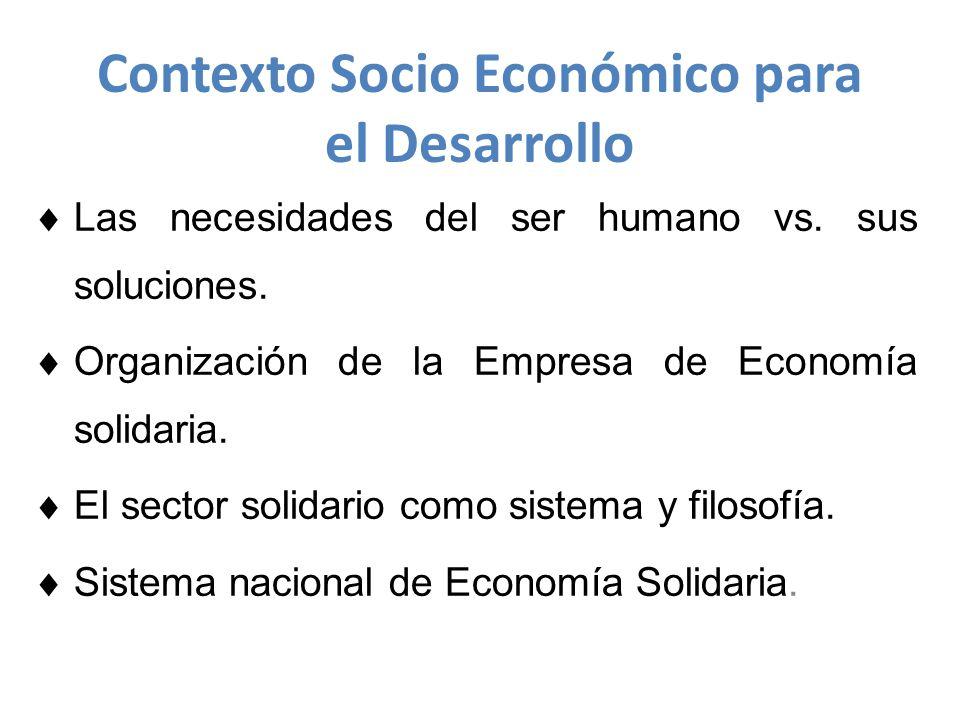 Contexto Socio Económico para el Desarrollo