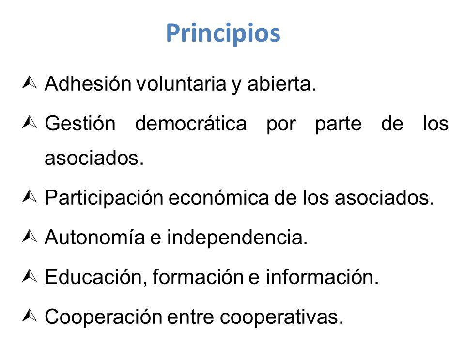 Principios Adhesión voluntaria y abierta.