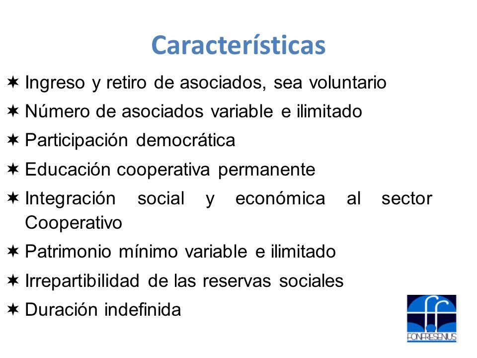 Características Ingreso y retiro de asociados, sea voluntario