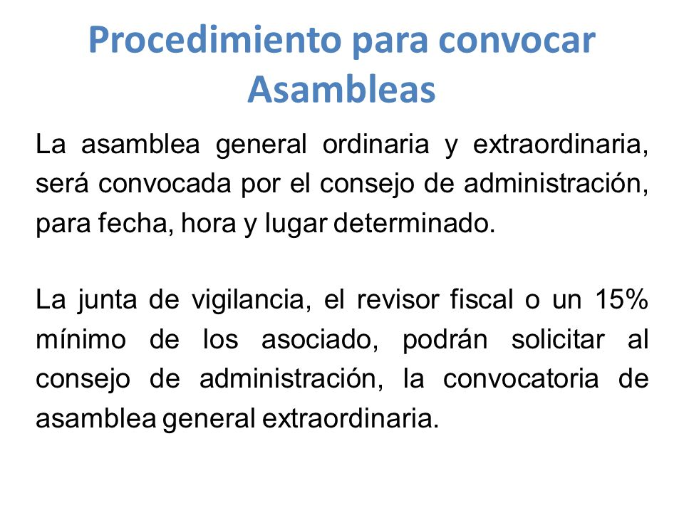 Procedimiento para convocar Asambleas