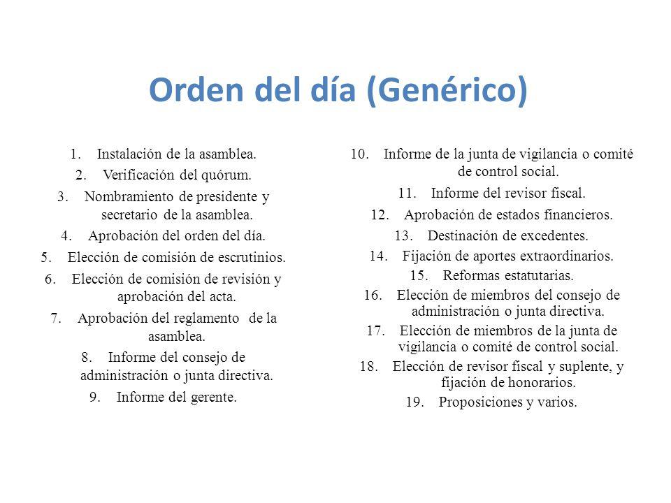 Orden del día (Genérico)