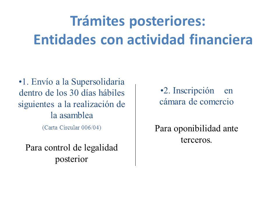 Trámites posteriores: Entidades con actividad financiera