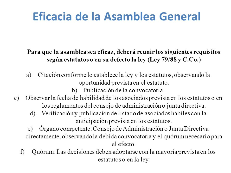 Eficacia de la Asamblea General