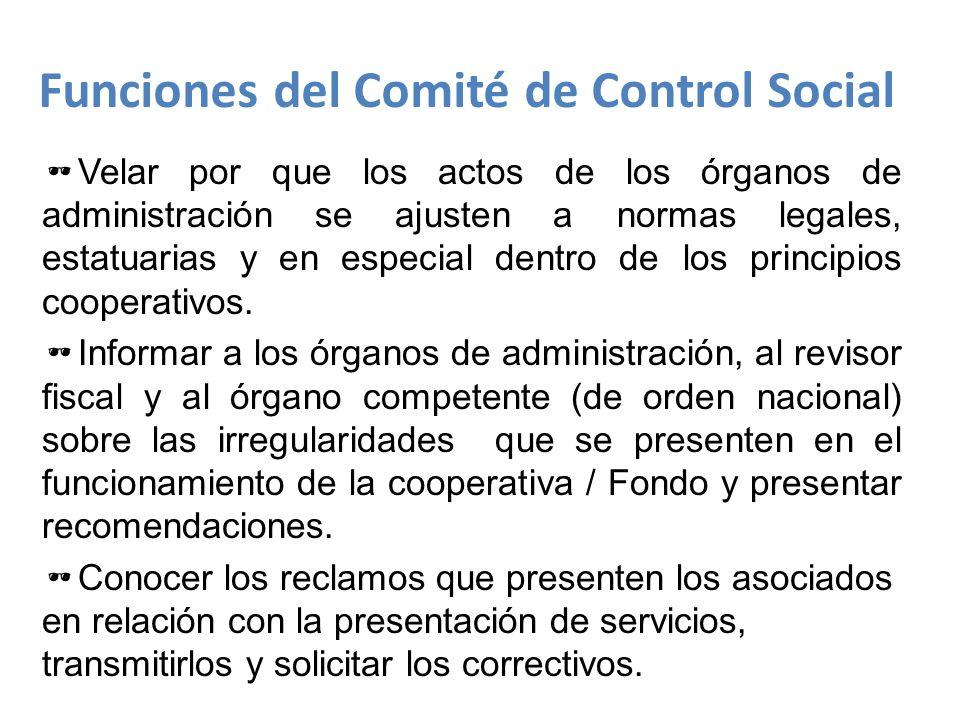Funciones del Comité de Control Social