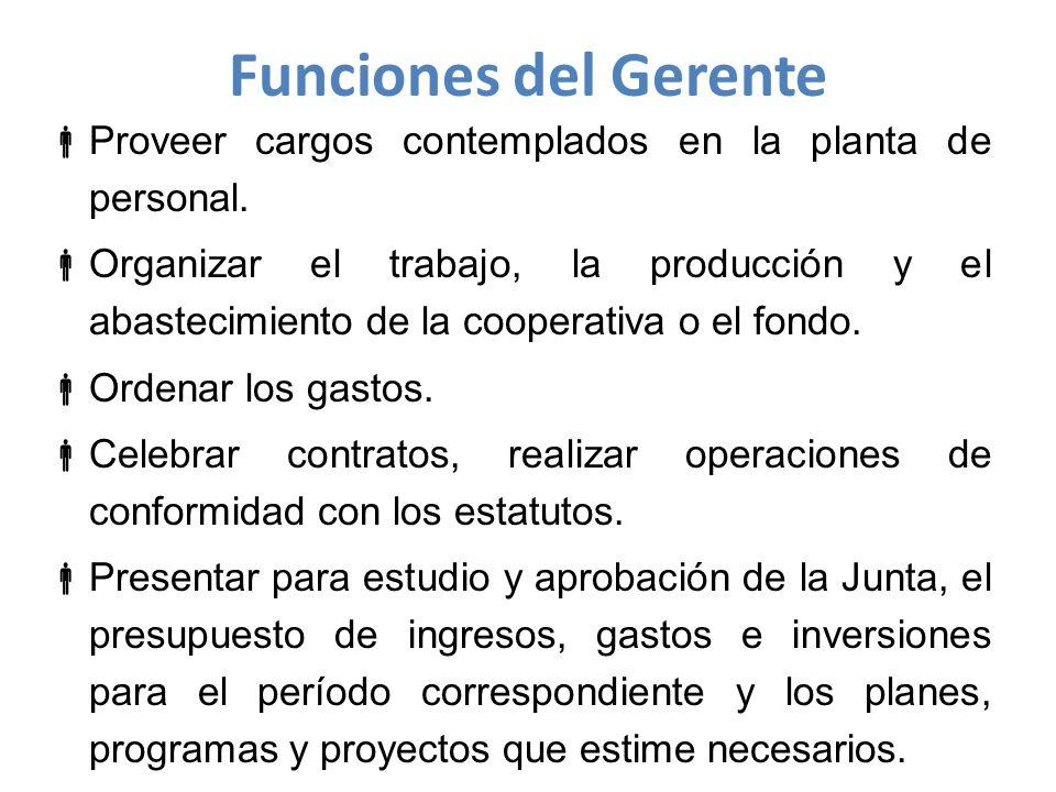 Funciones del Gerente Proveer cargos contemplados en la planta de personal.