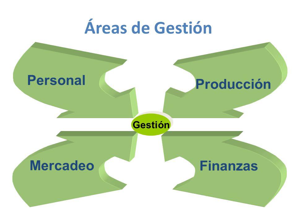 Áreas de Gestión Personal Producción Gestión Mercadeo Finanzas