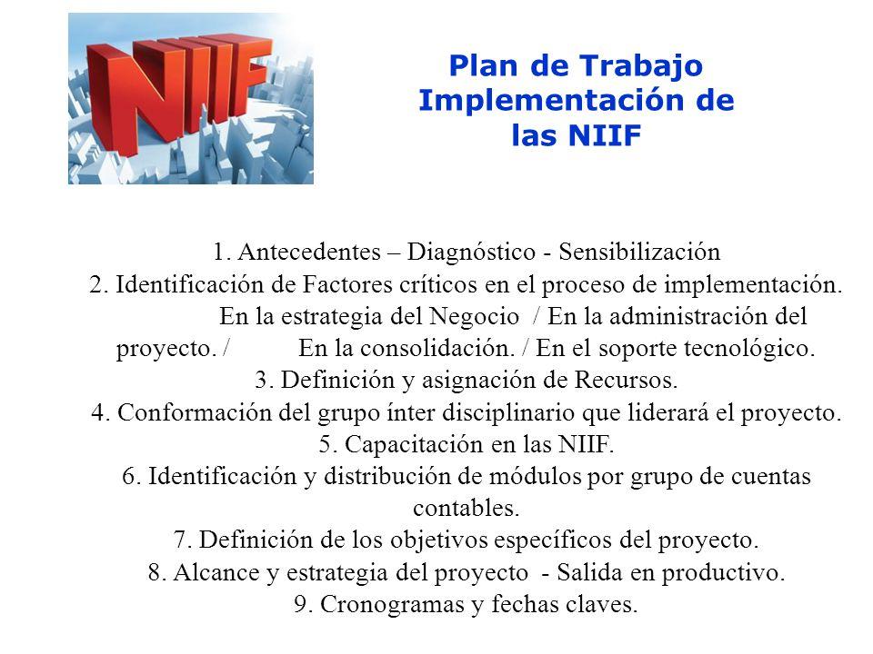 Plan de Trabajo Implementación de las NIIF