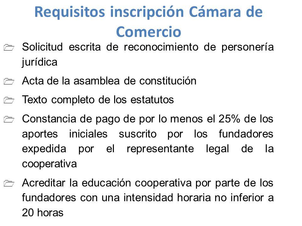 Requisitos inscripción Cámara de Comercio