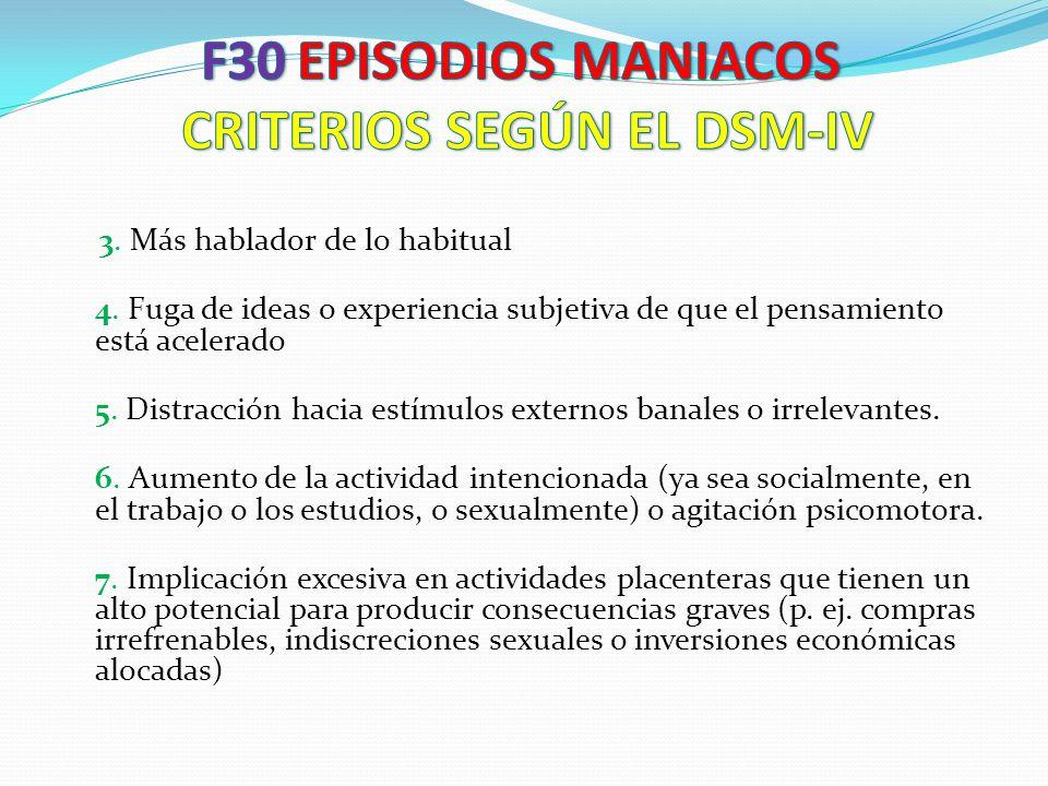 F30 EPISODIOS MANIACOS CRITERIOS SEGÚN EL DSM-IV