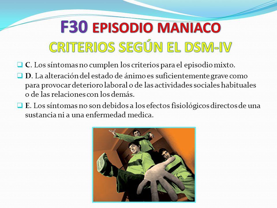 F30 EPISODIO MANIACO CRITERIOS SEGÚN EL DSM-IV