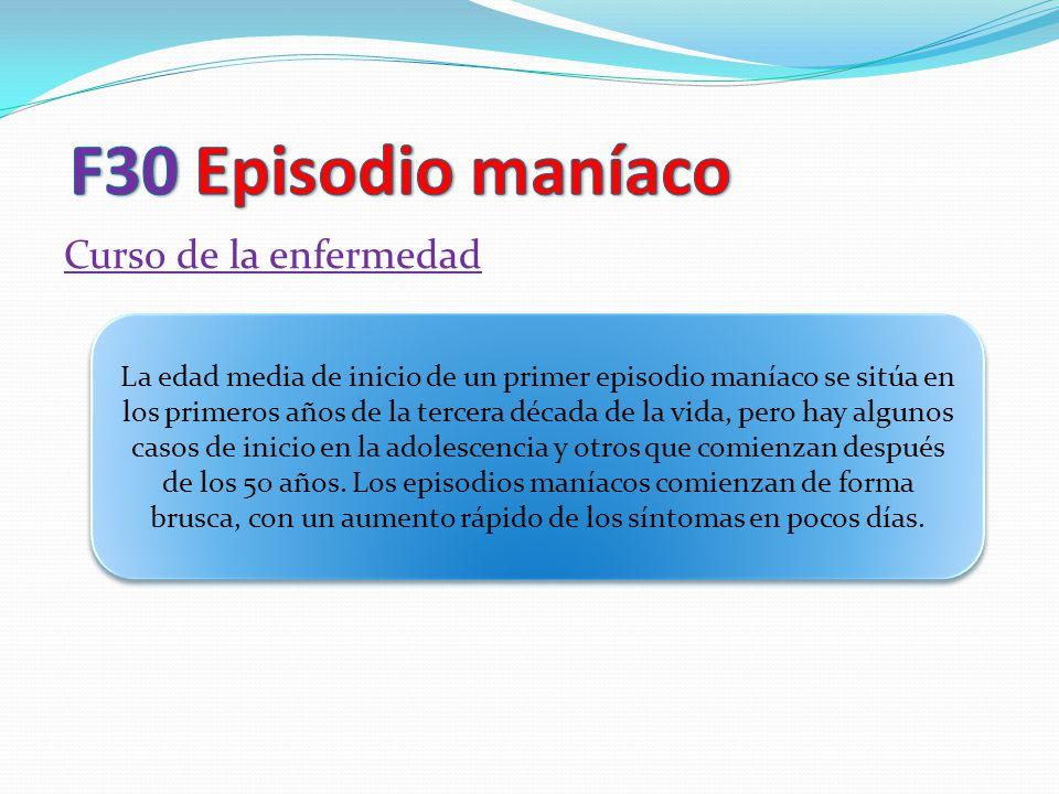 F30 Episodio maníaco Curso de la enfermedad