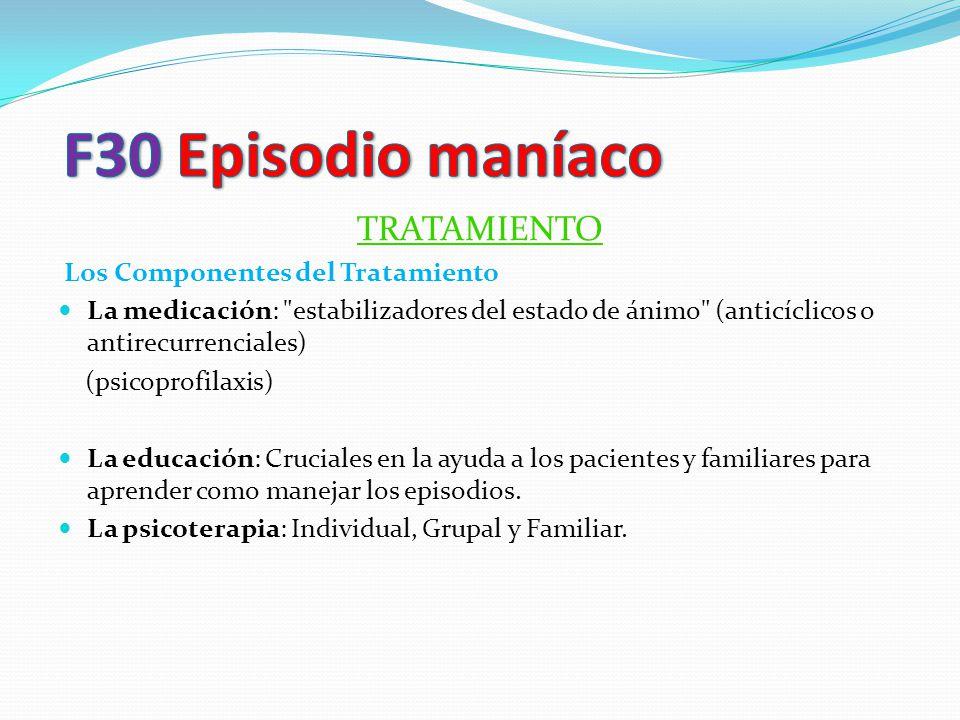 F30 Episodio maníaco TRATAMIENTO Los Componentes del Tratamiento