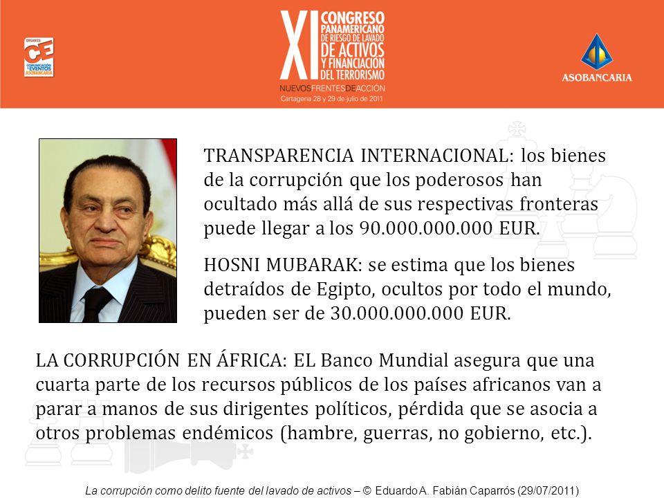 TRANSPARENCIA INTERNACIONAL: los bienes de la corrupción que los poderosos han ocultado más allá de sus respectivas fronteras puede llegar a los 90.000.000.000 EUR.