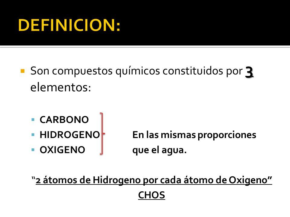 2 átomos de Hidrogeno por cada átomo de Oxigeno