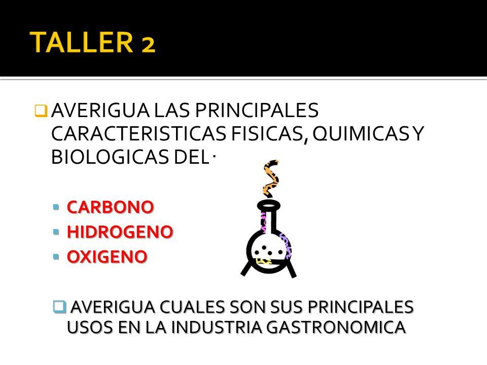 TALLER 2 AVERIGUA LAS PRINCIPALES CARACTERISTICAS FISICAS, QUIMICAS Y BIOLOGICAS DEL: CARBONO. HIDROGENO.