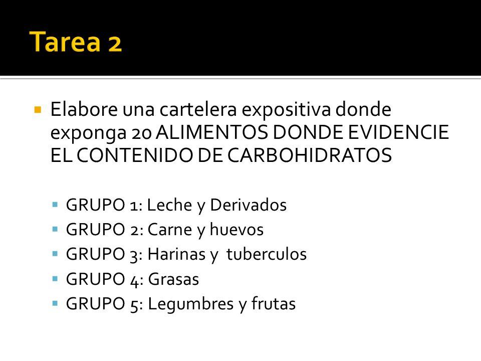 Tarea 2 Elabore una cartelera expositiva donde exponga 20 ALIMENTOS DONDE EVIDENCIE EL CONTENIDO DE CARBOHIDRATOS.