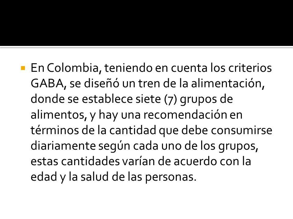En Colombia, teniendo en cuenta los criterios GABA, se diseñó un tren de la alimentación, donde se establece siete (7) grupos de alimentos, y hay una recomendación en términos de la cantidad que debe consumirse diariamente según cada uno de los grupos, estas cantidades varían de acuerdo con la edad y la salud de las personas.