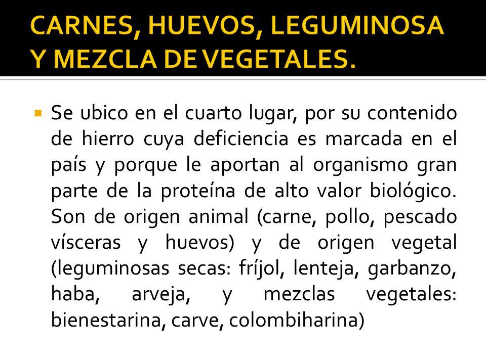 CARNES, HUEVOS, LEGUMINOSA Y MEZCLA DE VEGETALES.