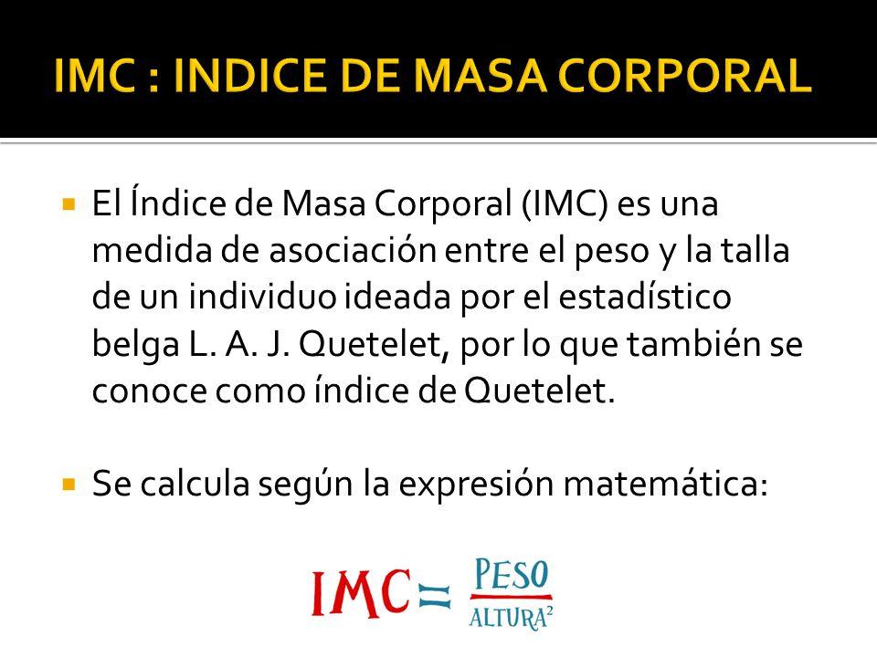 IMC : INDICE DE MASA CORPORAL