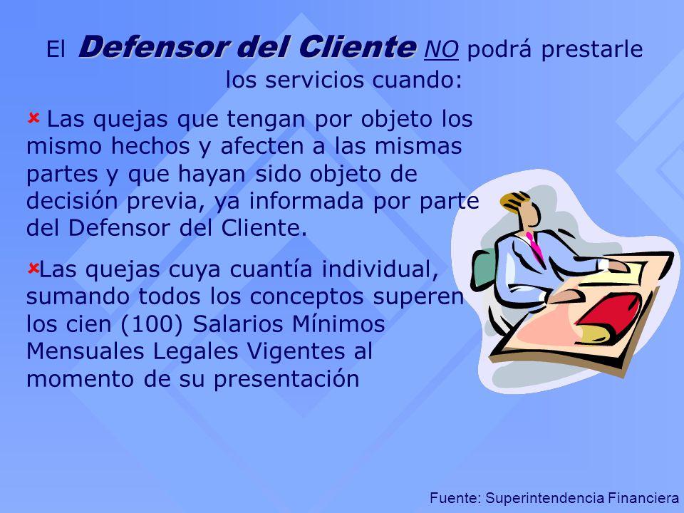 El Defensor del Cliente NO podrá prestarle los servicios cuando: