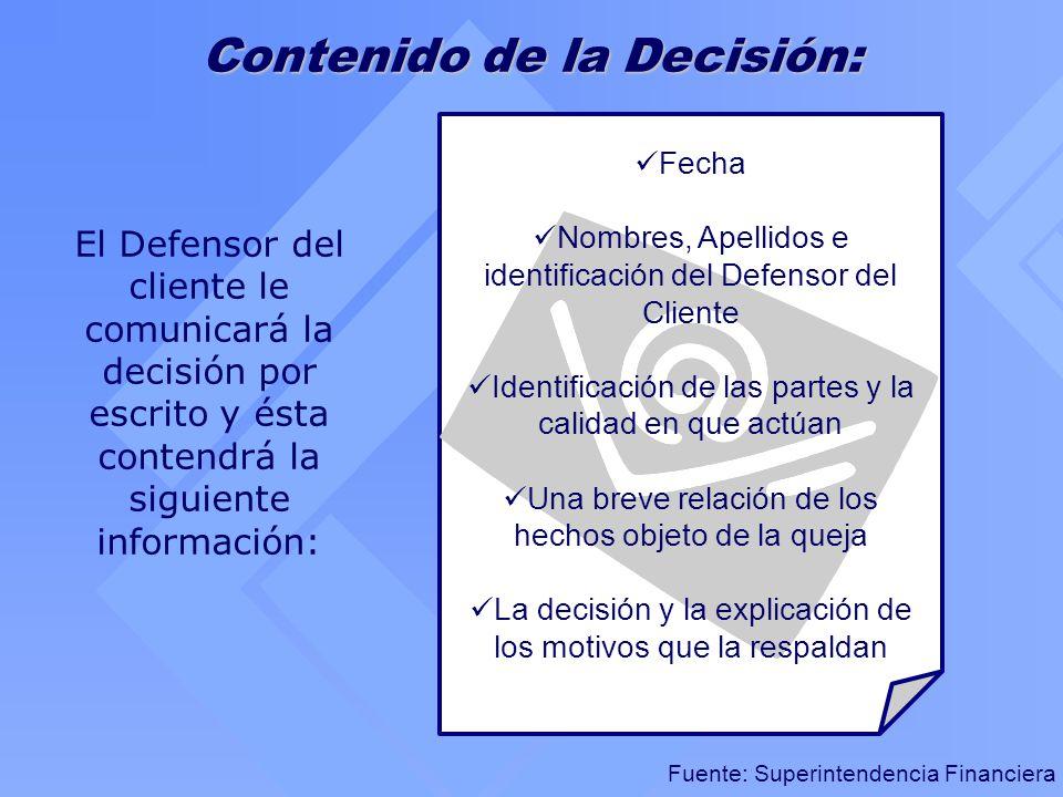 Contenido de la Decisión: