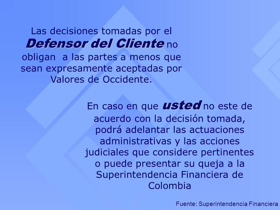 Las decisiones tomadas por el Defensor del Cliente no obligan a las partes a menos que sean expresamente aceptadas por Valores de Occidente.