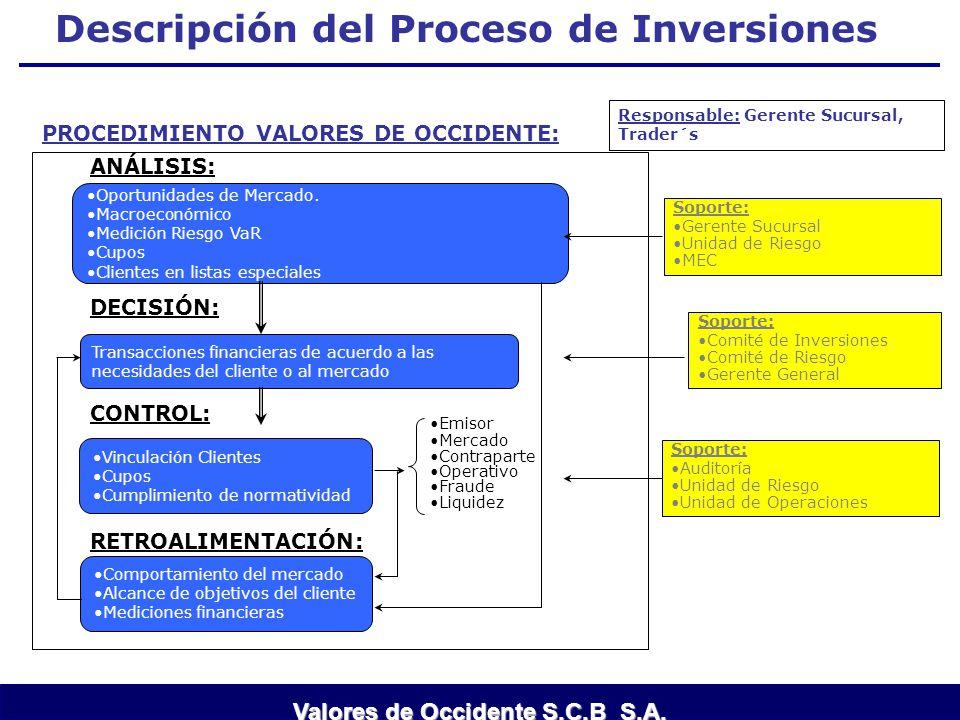 Descripción del Proceso de Inversiones