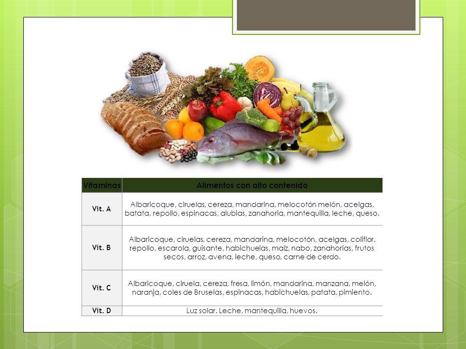 Alimentos con alto contenido
