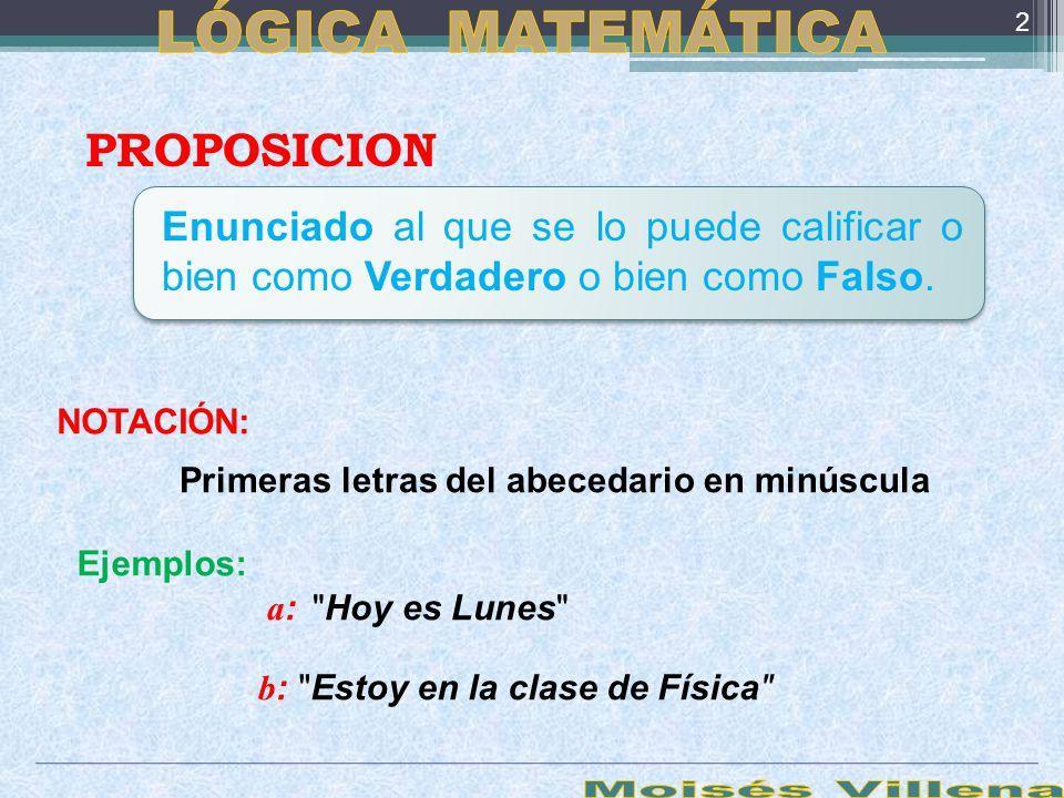 LÓGICA MATEMÁTICA Moisés Villena PROPOSICION