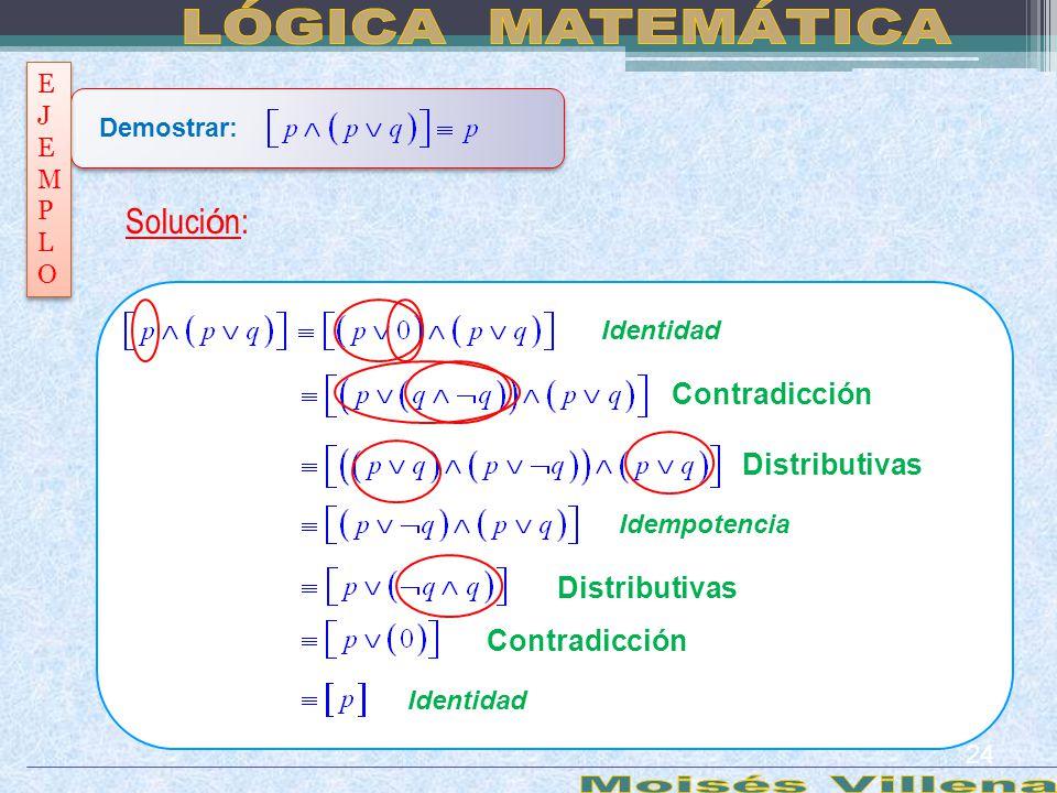 LÓGICA MATEMÁTICA Moisés Villena Solución: Contradicción Distributivas