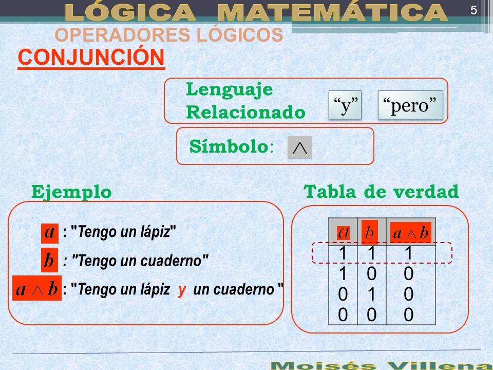 LÓGICA MATEMÁTICA Moisés Villena CONJUNCIÓN OPERADORES LÓGICOS