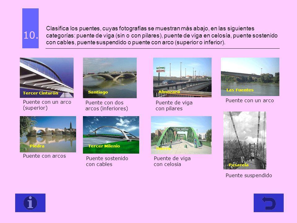 Clasifica los puentes, cuyas fotografías se muestran más abajo, en las siguientes categorías: puente de viga (sin o con pilares), puente de viga en celosía, puente sostenido con cables, puente suspendido o puente con arco (superior o inferior).