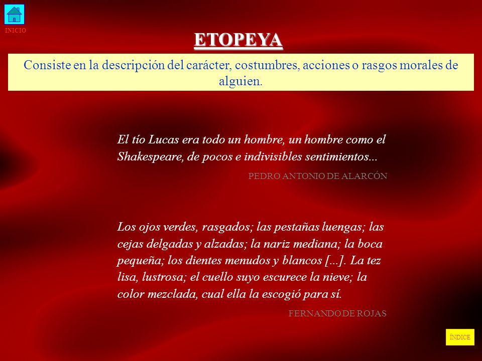 INICIO ETOPEYA. Consiste en la descripción del carácter, costumbres, acciones o rasgos morales de alguien.