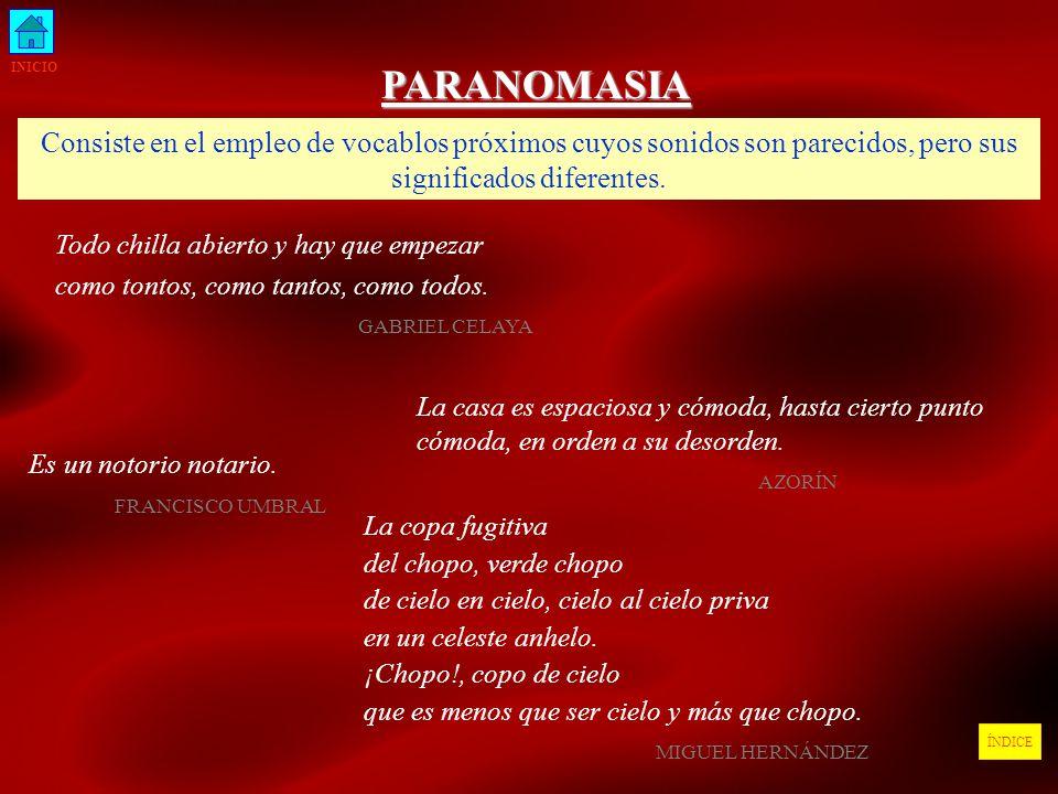 INICIO PARANOMASIA. Consiste en el empleo de vocablos próximos cuyos sonidos son parecidos, pero sus significados diferentes.