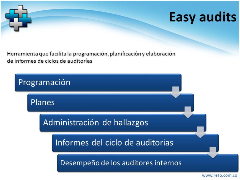 Easy audits Programación Planes Administración de hallazgos